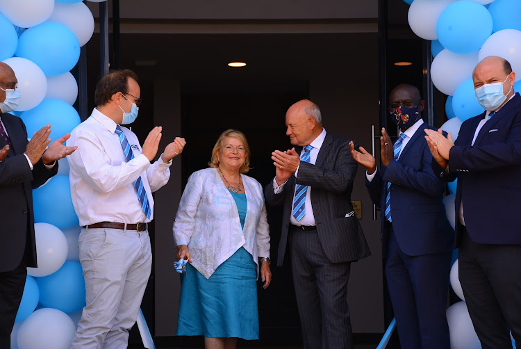 Mrs Christine Davis officially commissions the Davis & Shirtliff Tatu Distribution Centre. Looking on is Group Chairman Alec Davis, Group CEO David Gatende, Commercial Director Edward Davis and Supply Chain General Manager Henry Davis/HANDOUT