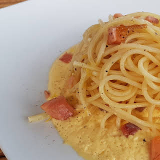 Spaghetti With Smoked Trout Carbonara.