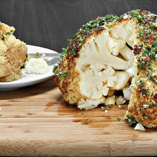 Delicious Roasted Cauliflower With Spicy Pea Sauce.