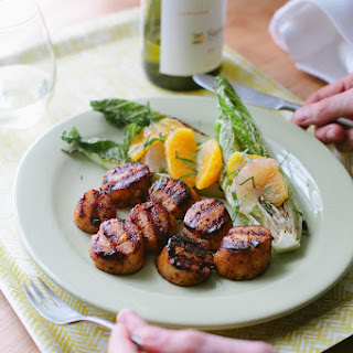 Blackened Scallops with Grilled Romaine + Citrus Salad.