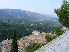 Photo: The view here is to the north face of the Luberon range, and its oak forests.