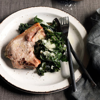 Baked Pork Chops with Swiss Chard.
