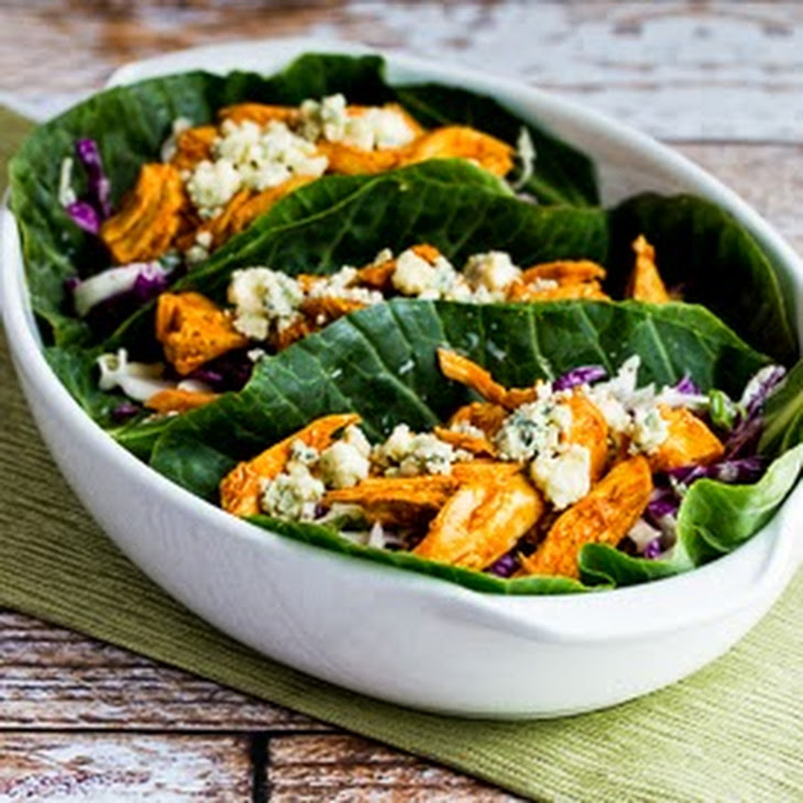 Slow Cooker Buffalo Chicken Low-Carb Collards Wraps with Blue Cheese Coleslaw Recipe