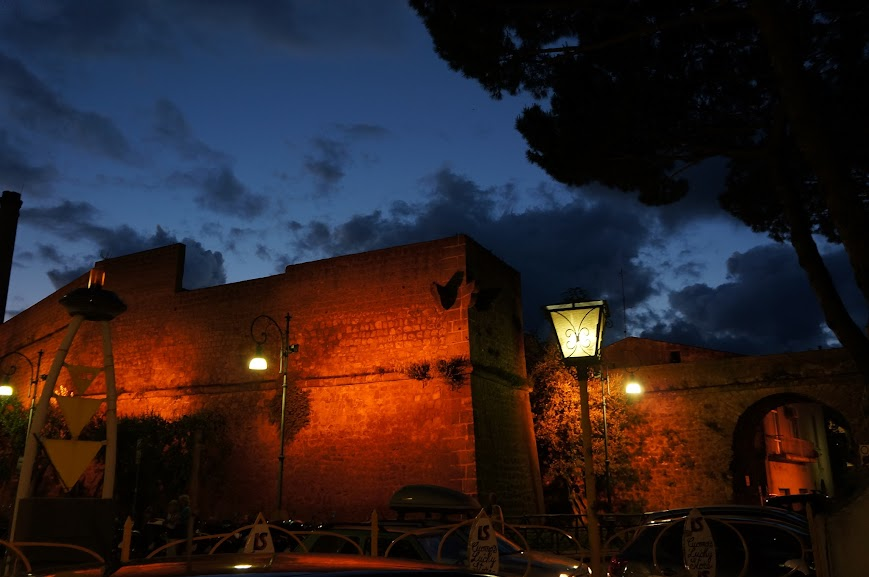 A lit up city wall in Sorrento, Italy (2015)
