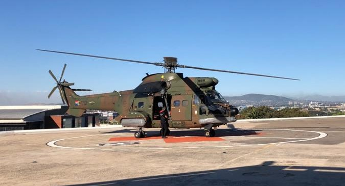 The SA Air Force Oryx on the helicopter pad at Groote Schuur Hospital in Cape Town on November 20 2020.