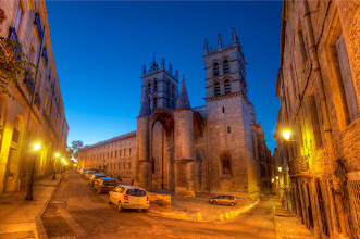 Photo: Another Google+ exclusive coming in less than one hour... so get a coffee or some tea or something much much stronger!  As for this one, the photo is a beautiful castle-cathedral in Montpellier, France. It was a cool dusk evening while we walked to dinner down the old alleyways... we ate at the kind of secret place that only locals know about and only locals can find a second time!