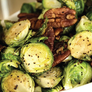 Maple Roasted Brussels Sprouts with Vanilla Spiced Pecans