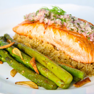 Salmon with Quinoa and Asparagus.