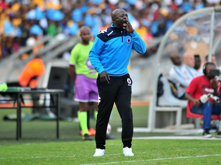 SuperSport United coach Kaitano Tembo reacts during the 1-0 Telkom Knockout defeat against Kaizer Chiefs at Moses Mabhida Staium in Durban on November 4, 2018.
