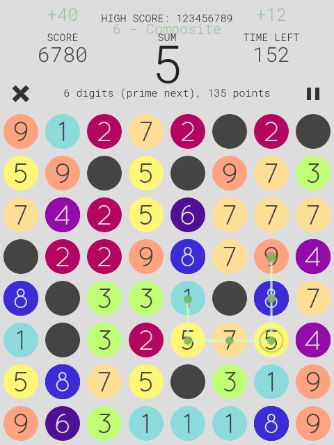 zero - a math puzzle game- screenshot