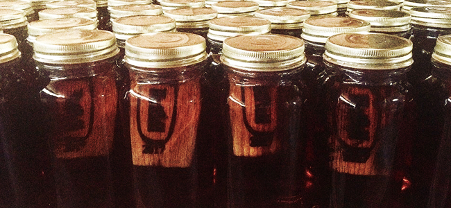 Mason Jars Filled With Moonshine From The Original Hatfield Family Moonshine