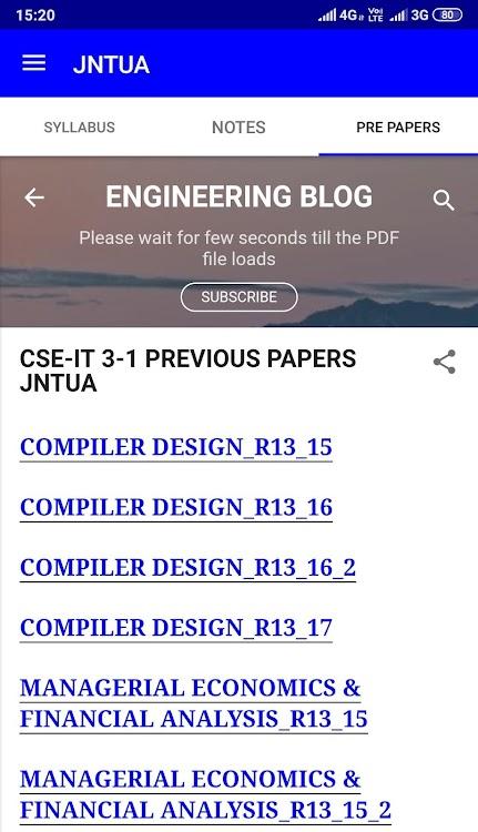 JNTUA STUDY MATERIALS PRE PAPERS IMP Q/A (B TECH) – (Android