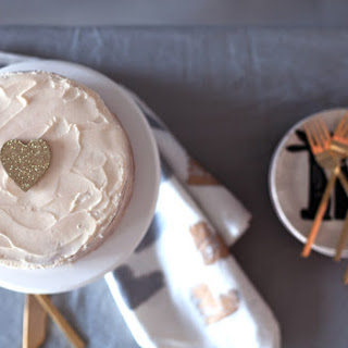 Vanilla Cinnamon Layer Cake with Vanilla Buttercream & Strawberry Jam.