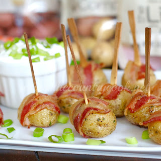 Bacon Wrapped Potatoes with Sour Cream & Onion Dip