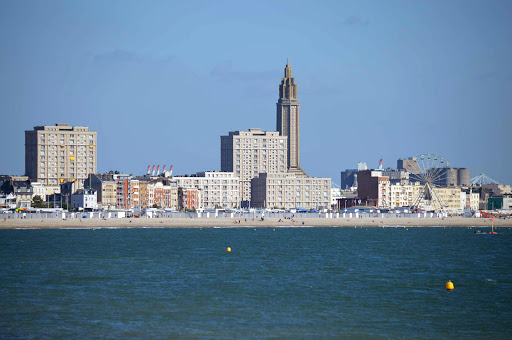 The modern skyline of Le Havre, France, as seen from the sea.