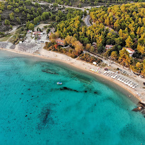 Kalogria Beach by Giannis Paraschou - Landscapes Beaches ( blue water, sand, dji, green, sithonia, greece, aerial photography, blue, beach, kalogria beach,  )