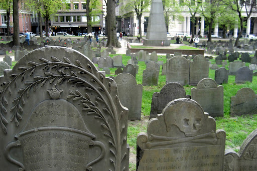 Founded in 1660, the Old Granary Burial Ground in Boston is the final resting place for Samuel Adams, John Hancock, Paul Revere and five victims of the Boston Massacre.