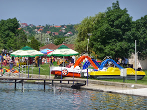 Photo: Water bikes with slides at Lake Velence.