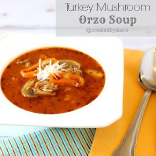 Italian Turkey Mushroom Orzo Soup