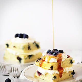 "Baked Blueberry Pancake ""Cake"" with Mascarpone Whipped Cream."