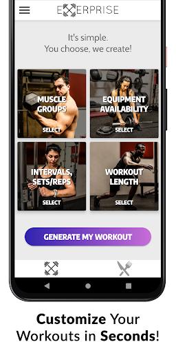 Exerprise - Workout & Meal Plan Generator screenshots 1