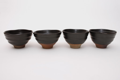 Sandy Lockwood Set of 4 Small Black Ceramic Bowls