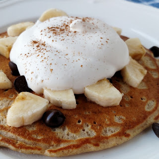 Banana and Dark Chocolate Pancakes with Whipped Cream