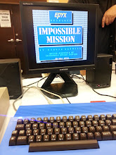 Photo: C64 with blue case from Kickstarter campaign, running Impossible MIssion, connected to VGA monitor