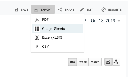 google sheets export from analytics.