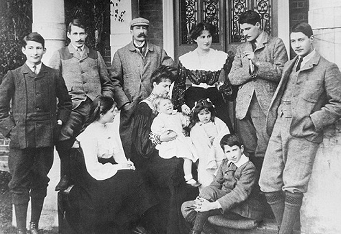 The Bowes-Lyon family in happier, Edwardian times. Michael is the boy sitting in the front and behind him is Elizabeth, the future Queen Mother. Fergus, the teenager standing on the left, was killed during World War 1.