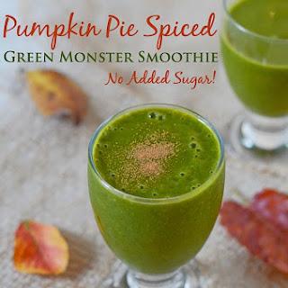 Pumpkin-Pie-Spiced Green Monster Smoothie {Recipe}