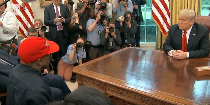 Kanye West meets Donald Trump at the White House.
