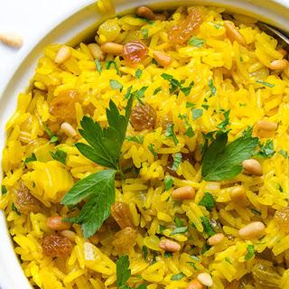 Jeweled Yellow Rice With Pignoli Nuts and Golden Raisins [Vegan, Gluten-Free]