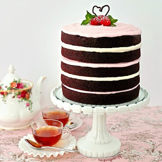 Easy to Decorate Naked Chocolate Cake with Raspberry Marshmallow Buttercream Frosting