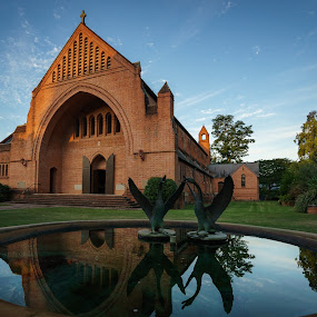 Christ Church Cathedral, Grafton by Mick McKean - Buildings & Architecture Places of Worship ( sculpture, building, grafton, foreground interest, uwa, australia, art, christ church cathedral, new south wales, cathedral, architecture, pond, places of worship )