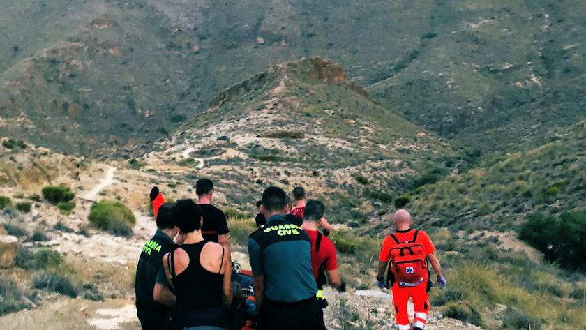 Rescate del ciclista en el Barranco del Cura.
