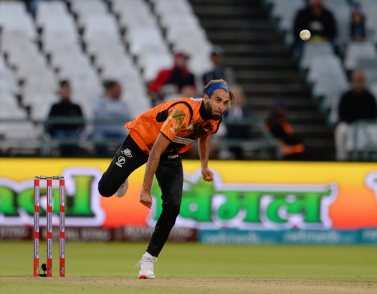 Imran Tahir of the Nelson Mandela Bay Giants during the Mzansi Super League match between Cape Town Blitz and Nelson Mandela Bay Giants at PPC Newlands on November 21, 2018 in Cape Town, South Africa.
