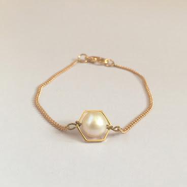 Handmade六角形珍珠手鏈