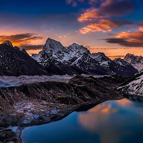 Sunrise Of Gokyo by Tien Sang Kok - Landscapes Mountains & Hills ( mountain, nature, sunrise, landscape, nepal,  )