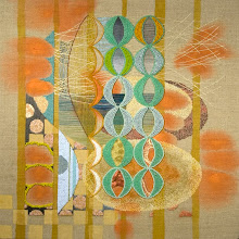 "Photo: ""Untitled III"" 16""x16"" Hand embroidery, beadwork and acrylic paint on linen. Maple wood frame, 2'' deep.  c. Karin Birch 2008"