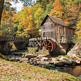 Fall at the Old Grist Mill by Patti Reddoch - Buildings & Architecture Public & Historical