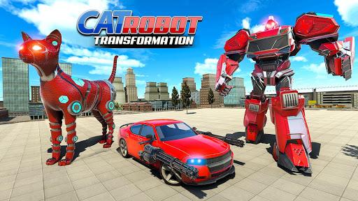 Cat Robot Car Transformation War Robot Games  screenshots 13