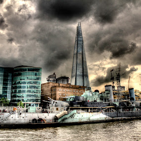 The Shard by Luke Aylen - Buildings & Architecture Other Exteriors ( clouds, the shard, shard, thames, hdr, london, destroyer, hms belfast, overcast, battleship )