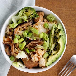Kimchi, Mushroom & Seitan Rice Bowl - Vegan Recipe