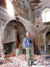 Photo: Alex, following up a lead in an abandoned church. We didn't see a single nest...but it was cool