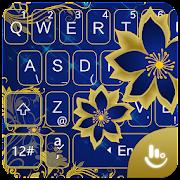 Luxury Rose Golden Blue Flower Keyboard Theme