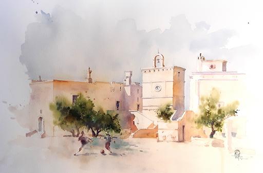 Masseria nelle Puglie_ aquarelle Jeanne PAPA