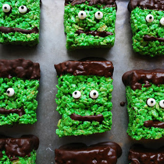 Frankenstein Krispies (Gluten, dairy, egg, soy, peanut & tree nut free; vegan option).