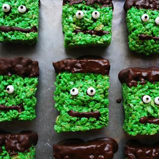 Frankenstein Krispies (Gluten, dairy, egg, soy, peanut & tree nut free; vegan option)