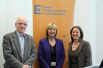 Photo: From left to right, Jozef de Witte (Equinet Board Chair), Christine Lüders (Director of the Federal Anti-Discrimination Agency in Germany), and Anne Gaspard (Equinet Executive Director)